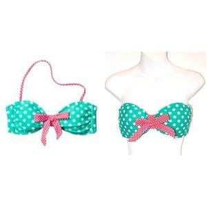 3/$25 Xhilaratio Polka Dot Bandeau Bikini Swim Top